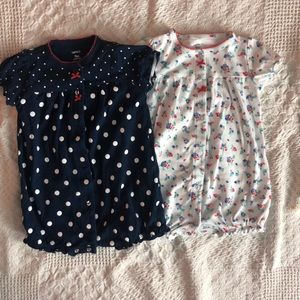 Two one piece rompers for summer girls 9 months